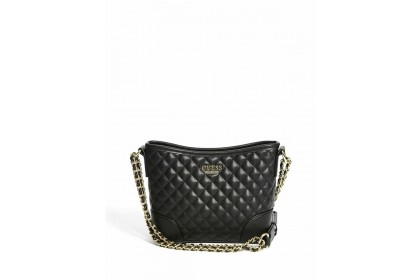 Guess Kris Quilted Small Hobo Crossbody Bag (Black/White/Green)