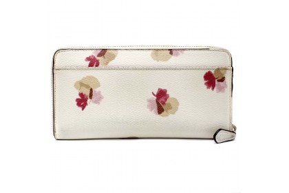 Coach Floral Pattern Round Fastener F53794 Long Wallet Leather White / Pink Ladies + Dustbag + Gift Bag