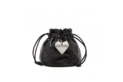 Guess Quilted Drawstring Pouch With Heart Charm & Pillow - Women Handbag Mini Bucket Wristlet Coins Purse Key Carrier Jewellery Watch Bag Organizer Travel Bags Vegan Leather PU Imported Gifts Hadiah Beg Tangan (Black)
