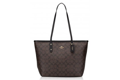 Coach 58292 Signature City Zip Tote Brown Black
